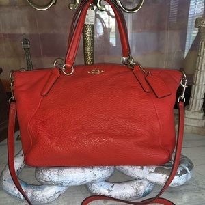 Coach Red Pebbled Leather bag